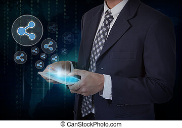 Businessman hand touch screen database circular icons on a...
