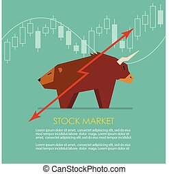 Bull and bear symbol of stock market with candle stick graph