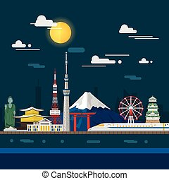 Flat illustration of Tokyo city in Japan.Japan landmarks...