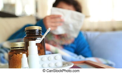 Sick child sneezing into tissue Flu Child caught cold -...