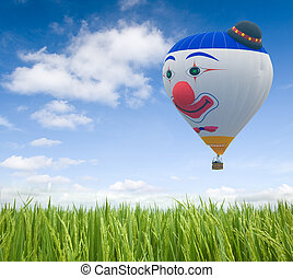 baloon - flying baloo over green grasses
