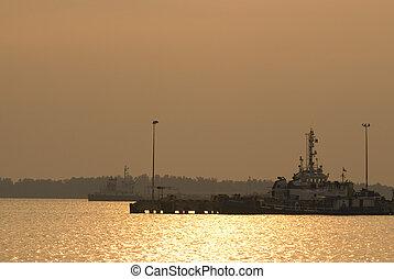 ship yard during sunset
