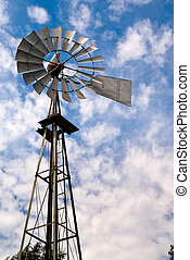 Old, Metal Water-Pumping Windmill - An old, metal windmill...