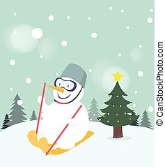 Snowman playing ski on snow background.
