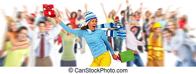 Happy woman with gifts - Happy caucasian girl running with...