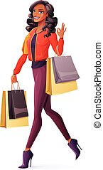 Vector African woman walking with shopping bags and showing OK.
