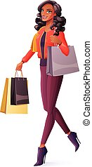 Vector beautiful African woman walking with shopping bags and smiling.