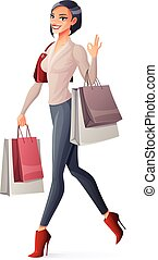 Vector smiling girl walking with shopping bags and showing OK.