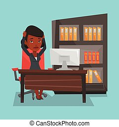 Tired employee working in office. - Stressed female office...