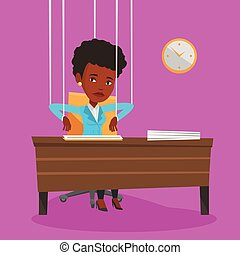 Business woman marionette on ropes working. - African...