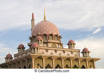 putrajaya mosque,landmark of malaysia during sunset