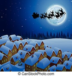 Santa Claus riding his reindeer sleigh flying in the sky -...