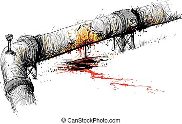 Leaking Pipeline - An illustration of a heavy liquids...