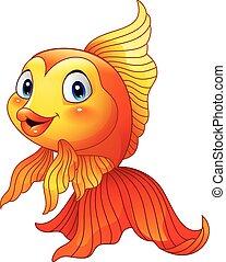 Cartoon cute goldfish - Vector illustration of Cartoon cute...