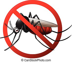 Stop mosquito symbol - Vector illustration of Stop mosquito...