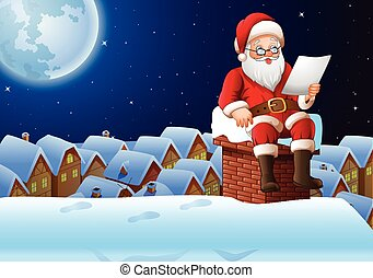 Cartoon Santa Claus sitting at chimney and reading a letter