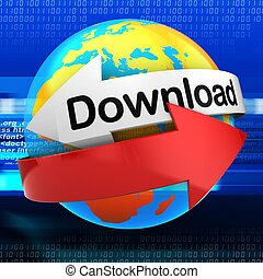 3d orange Earth globe over digital background download text...
