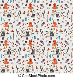 Seamless pattern color winter camping symbols, signs