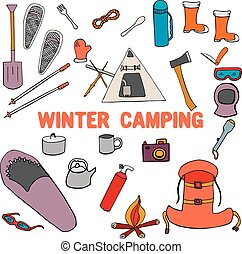 winter camping poster background, with hand drawn doodle...