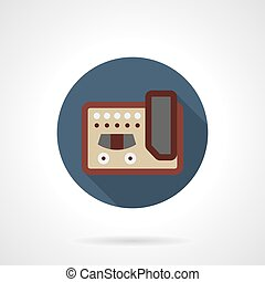 Guitar stompbox flat color round vector icon - Abstract...