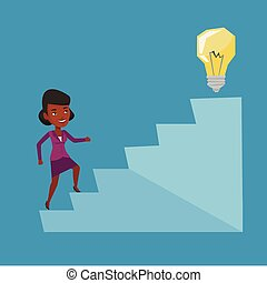 Business woman walking upstairs to the idea bulb. - An...