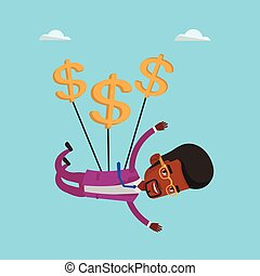 Businessman flying with dollar signs.