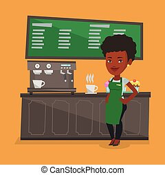 Barista standing near coffee machine. - An african-american...
