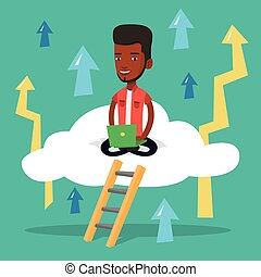 Businessman sitting on cloud with laptop. - An...