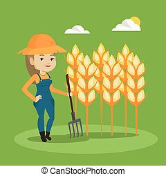 Farmer with pitchfork vector illustration. - Happy caucasian...