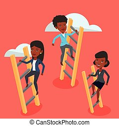 Business people climbing to success. - An african business...