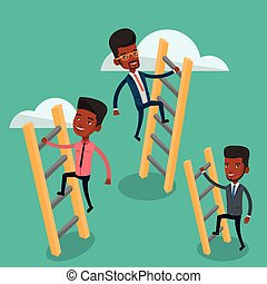 Business people climbing to success. - An african-american...