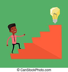 Businessman walking upstairs to the idea bulb. - An african...