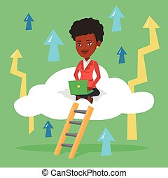 Business woman sitting on cloud with laptop. -...