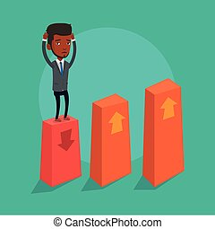 Bankrupt on chart going down vector illustration. - An...