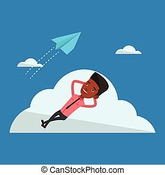 Businessman lying on cloud vector illustration. -...