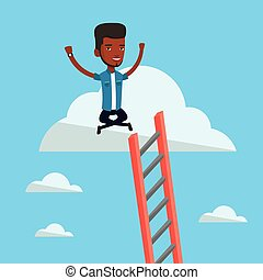 Happy businessman sitting on the cloud. - An...