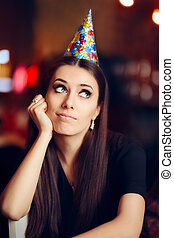 Sad Bored Woman at a Party Having No Fun - Portrait of a...
