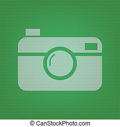 Digital photo camera sign. white icon on the green knitwear...