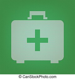 Medical First aid box sign. white icon on the green knitwear or
