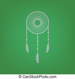 Dream catcher sign. white icon on the green knitwear or woolen c