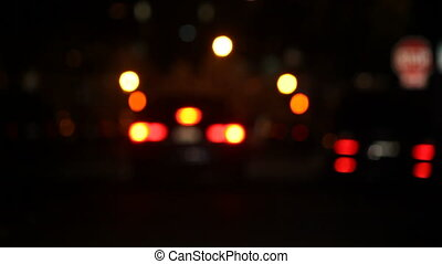 cars at night defocused
