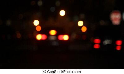 cars at night defocused