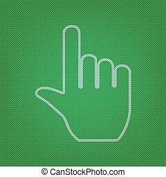 Hand sign illustration. white icon on the green knitwear or wool