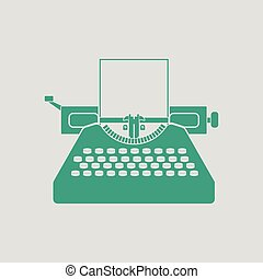 Typewriter icon. Gray background with green. Vector...