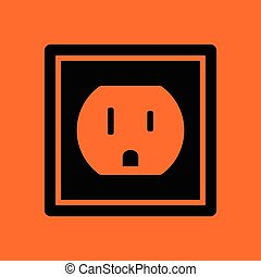 Electric outlet icon. Orange background with black. Vector...