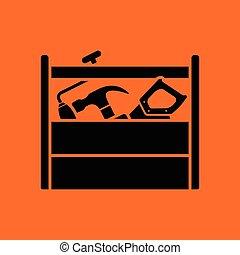 Retro tool box icon. Orange background with black. Vector...
