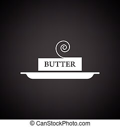 Butter icon. Black background with white. Vector...