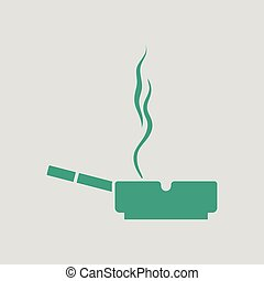 Cigarette in an ashtray icon. Gray background with green....