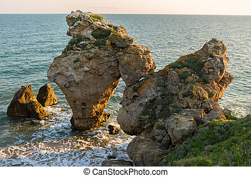 Arch of large stones in the Sea Azov on Generals beach....