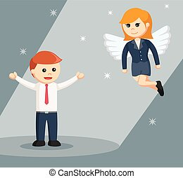 female business angel with businessman